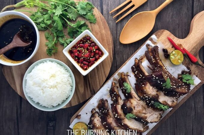 Sticky Chinese Honey Pork Ribs (蜜汁排骨): This may well be the most succulent, melt-in-your-mouth, fall-off-the-bone pork ribs you have ever tasted. The secret lies in first braising the pork ribs for over an hour to tenderise the meat, and then grilling it at high heat briefly to achieve that sticky shiny glaze and smoky aroma!
