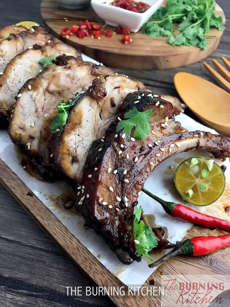 Sticky Chinese Honey Pork Ribs on chopping board
