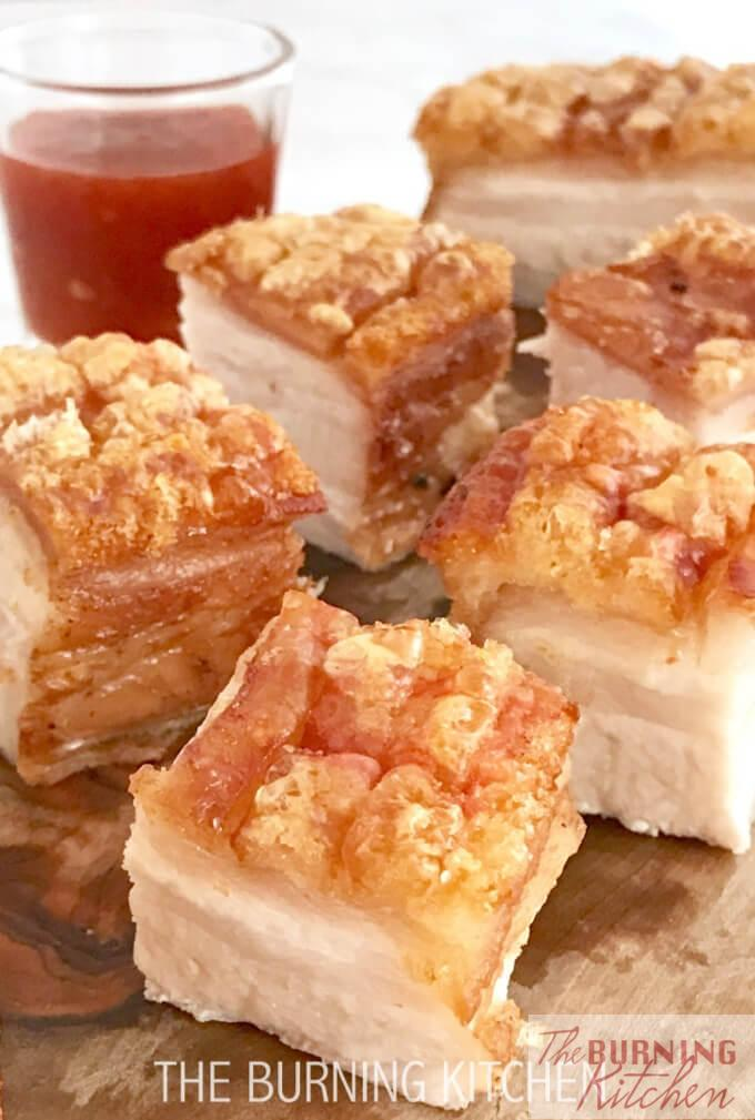 Crispy Pork Belly is probably everyone's favourite Cantonese roast meats! The skin is so crispy golden you can hear the crunch as you bite into it, and the meat is so moist and succulent. Its so yummy, I guarantee you won't be stopping at just one!