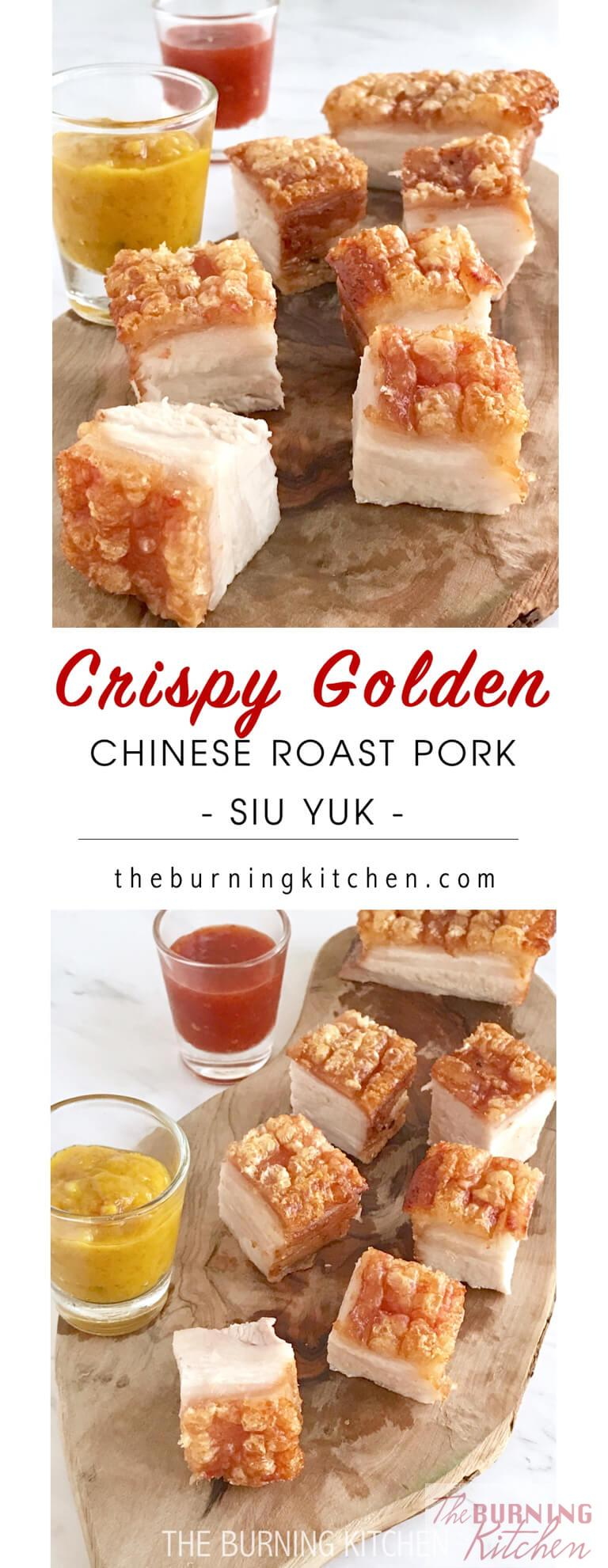 Crispy Pork Belly is probably everyone'sfavourite Cantonese roast meat! With skin so crispy you can hear the crunch asyou bite it, and meat so moist and succulent, I guarantee you won't be stopping at just one piece! #siobak #roastpork #siuyuk