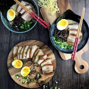 Tonkotsu Ramen with Pork Belly Chashu:Even though it takes a while to prepare everything from scratch, nothing beats the satisfaction of sitting down for a family meal of home-made MSG-free Japanese Chashu Ramen in a collagen-rich pork bone broth.