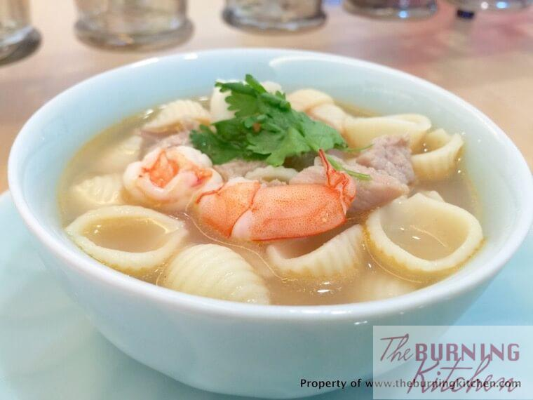 Pork and Prawn Macaroni in blue bowl