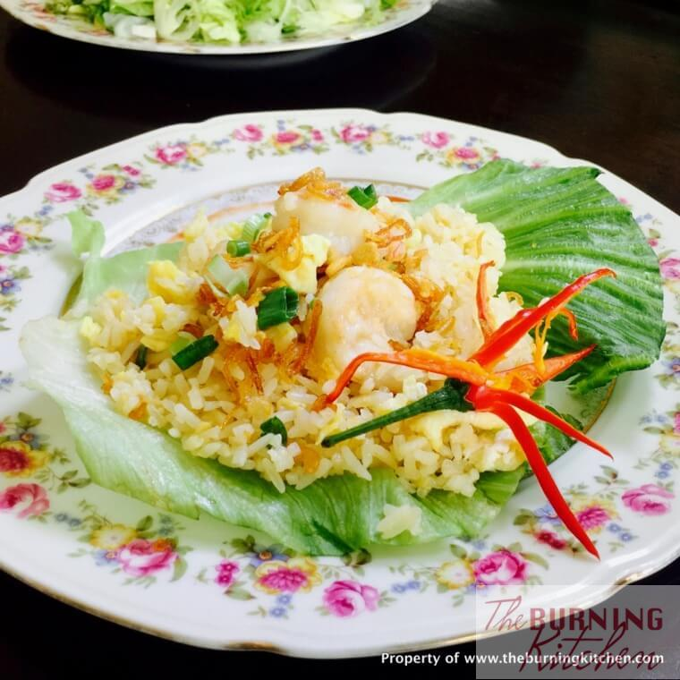 Prawn and egg fried rice on plate