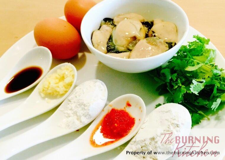 Oyster Omelette ingredients