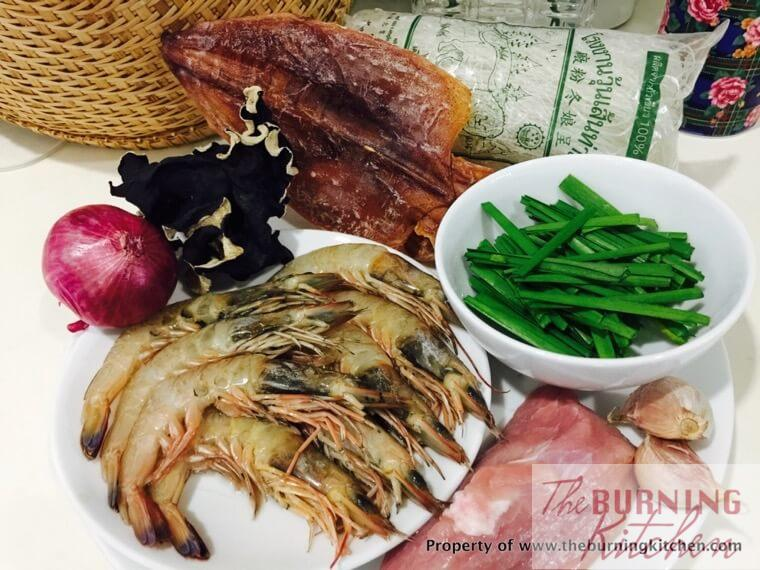 Ingredients for cuttlefish Tang Hoon