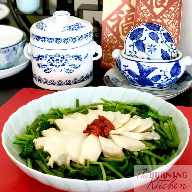 Chinese Spinach with sliced Abalone in large bowl
