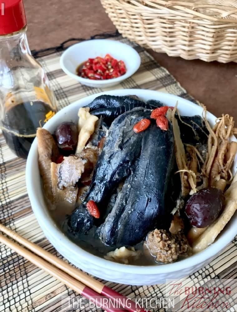 Double Boiled Black Chicken Herbal Soup Recipe The Burning Kitchen