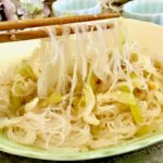 Plate of stir-fried hairy gourd with glass noodles