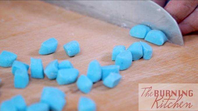 cutting the tapioca dough