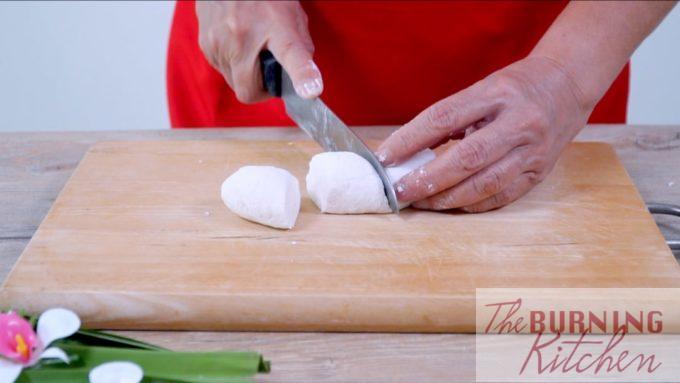 dividing the tapioca dough