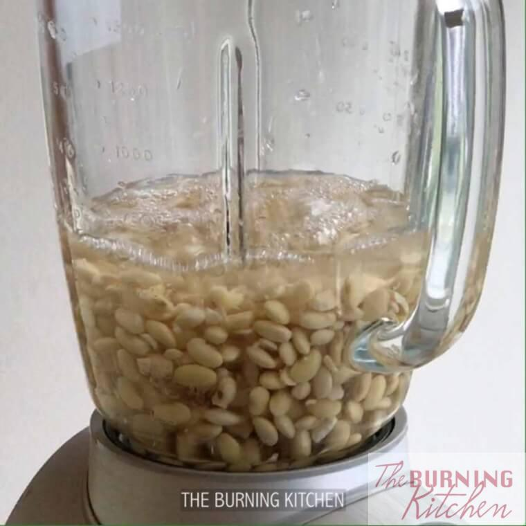 Soy beans with water in a blender