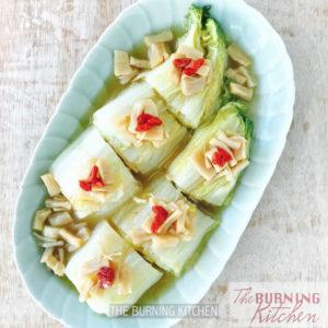 Napa Cabbage (Wong Bok) with Dried Scallops: A light healthy dish of sweet cabbage and prized dried scallop braised in a umami-rich gravy made by first caramelising the natural sugars of the cabbage and then deglazing the wok with the essence of the dried scallops.