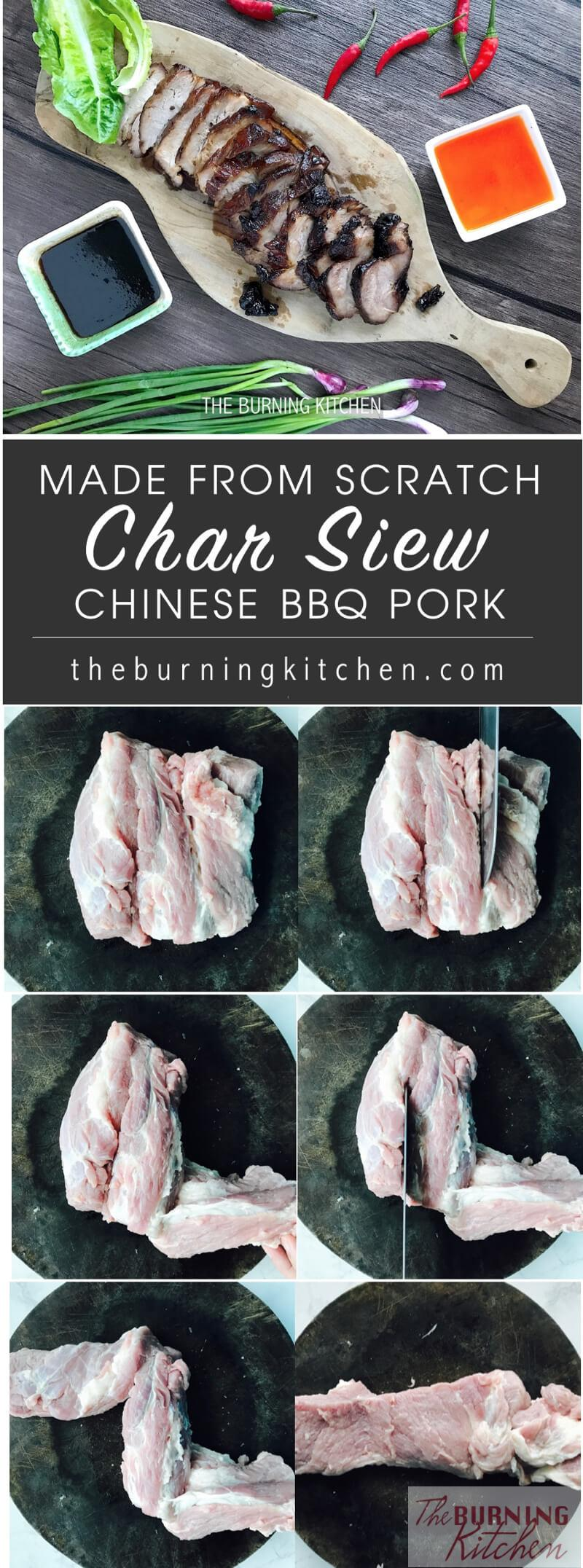 This is Mum's Sticky Chinese BBQ Pork, or Char Siew recipe with no MSG and no food colouring. Look how juicy and succulent the Char Siew is! My absolute favourite are the little sticky glazed bits with a slightly charred, smoky flavour. Simply heavenly!