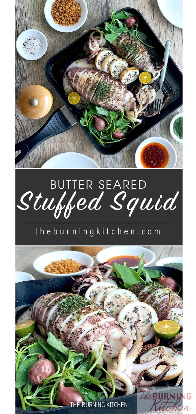 Steam-Grilled Stuffed Squid: The steam-grill method gives you the best of both worlds - the extra moisture and flavour infusion from steaming, and the smoky bbq flavours from grilling! This delicious squid dish is literally packed with surprises inside out!