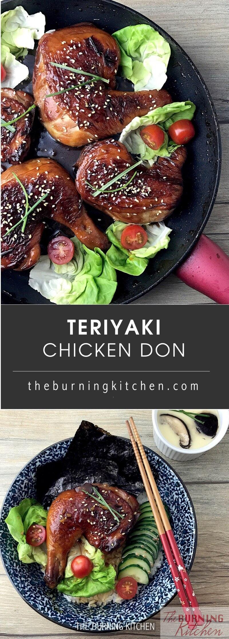Instead of heading to a Japanese restaurant, why not make this easy 30-min Teriyaki Chicken Don at home? The homemade Teriyaki sauce uses just 3 ingredients and gives a beautiful glossy finish. Yummy and easy to make! #teriyakichickendon #japfood #quickandeasymeal