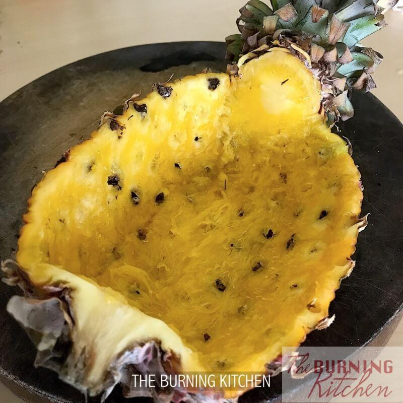 Hollowed out pineapple shell