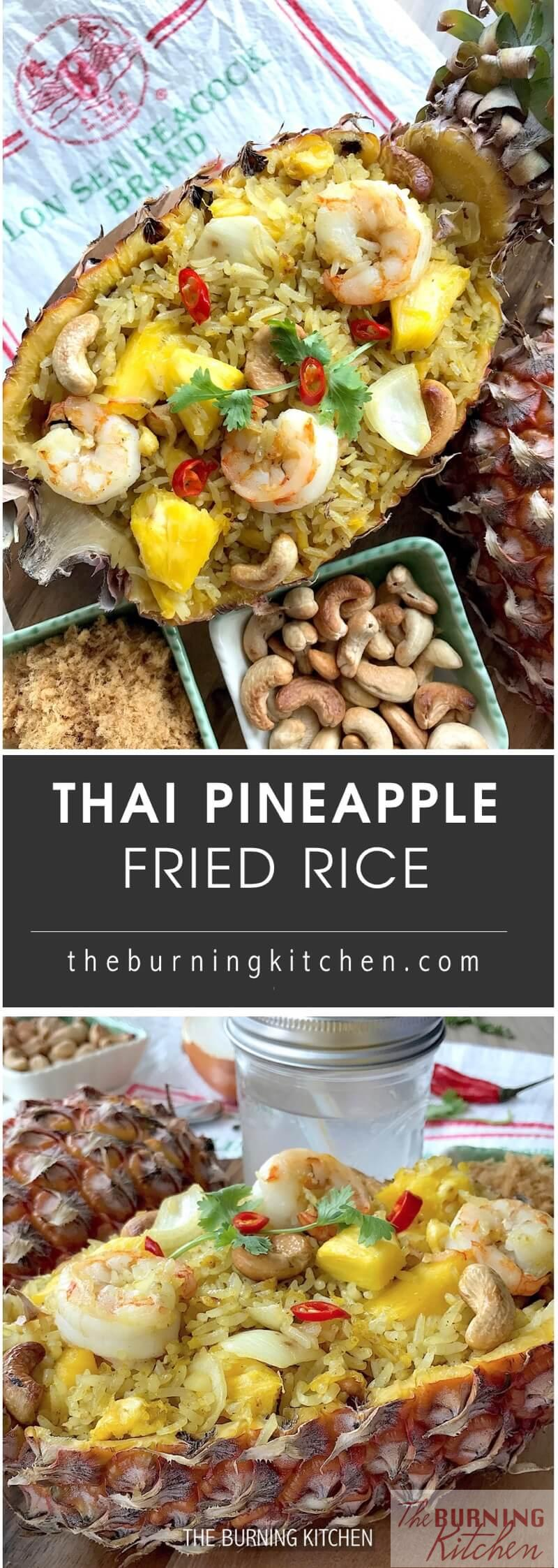 Thai Pineapple Fried Rice (Khao Phad Saparod) is a one-wok crowd-pleaser that boasts a plethora of flavours and textures ranging from sweet, savoury, spicy, crunchy to fluffy! Make this to impress your friends today!#pineapplefriedrice #thaifood #KhaoPhadSaparod
