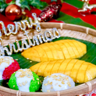 Christmas-themed Thai Mango Sticky Rice in white, green and red