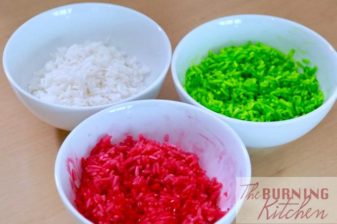 Tri-colour glutinous rice before steaming