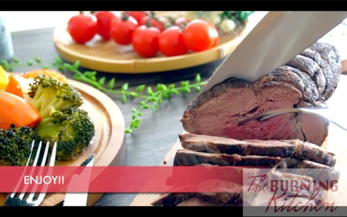 Slicing roast beef into slices