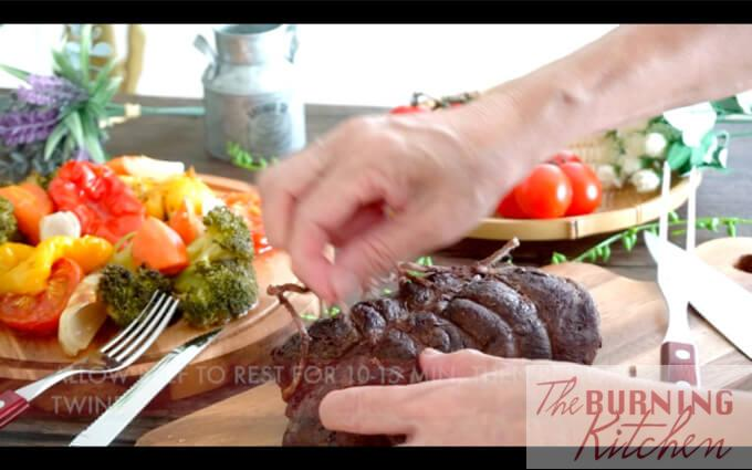 Removing string from roast beef