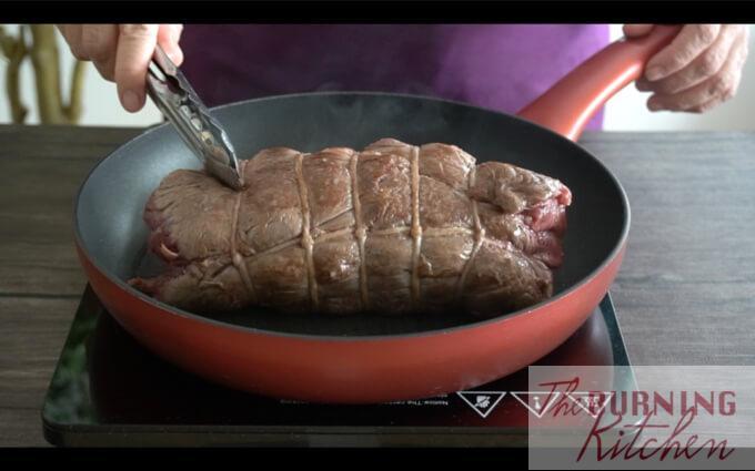 Searing roast beef in pan