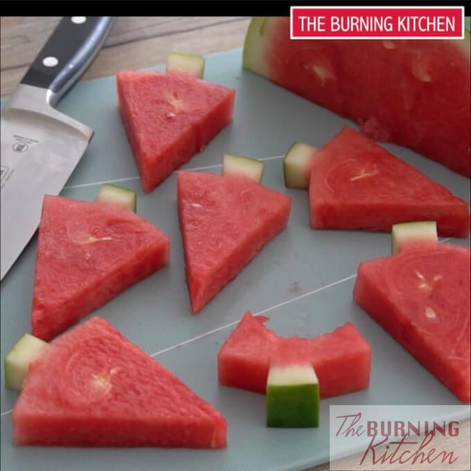 Watermelon Christmas Trees on chopping board
