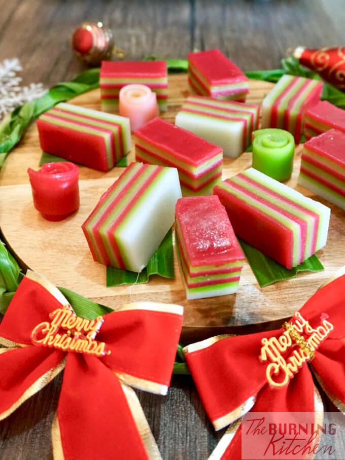 Kueh Lapis on wooden cutting board