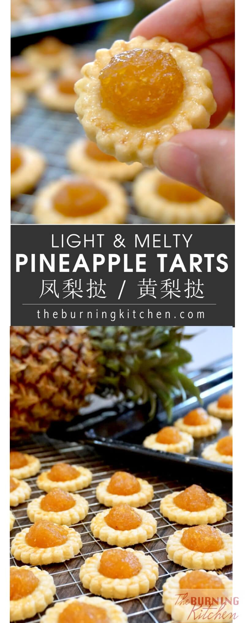 These highly addictive pineapple tarts are made from scratch using homemade chunky spiced pineapple jam, which sit atop a buttery, crumbly tart pastry. One piece will not be enough, so make all you want! #pineappletarts #homemade #chinesenewyear