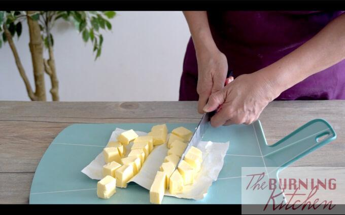 Cutting cold butter into cubes