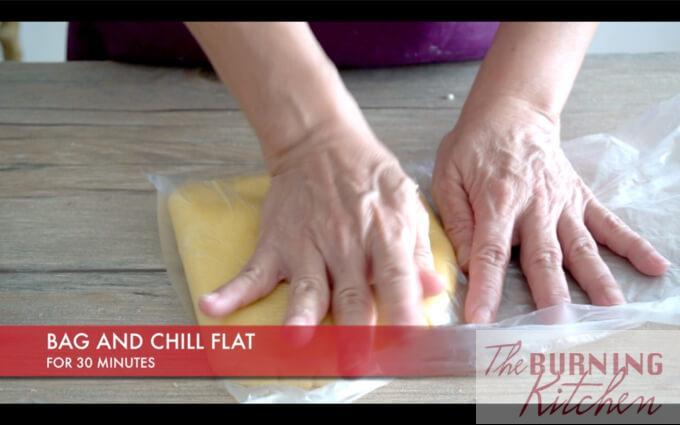 Pineapple tart dough pressed into rectangular shape