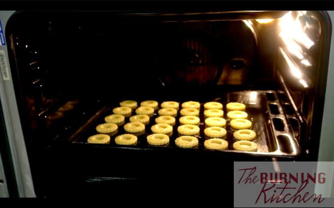 Baking pineapple tart cookie dough in oven