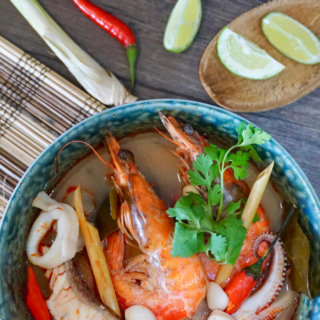 Tom Yum Talay: An extremely popular Thai soup characterised by its distinctive sweet, spicy and hot flavour due to addition of fragrant spices and herbs indigenous to Southeast Asia. You can either cook it with seafood (Tom Yum Talay), prawns (Tom Yum Khoong), or chicken (Tum Yum Gai), and its a great dish to serve as an appetiser!