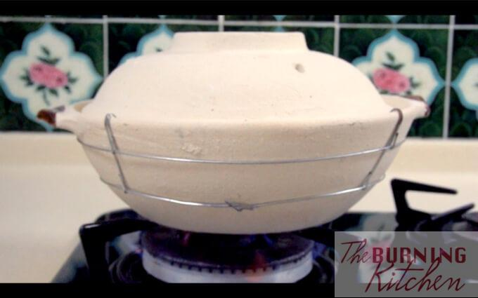 Claypot on top of an open stove