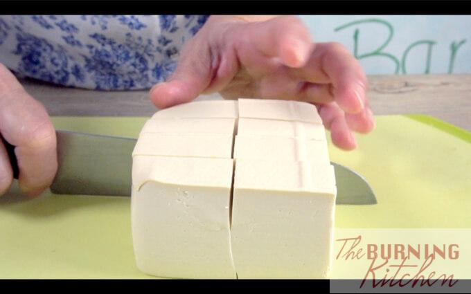 Cutting tofu into blocks