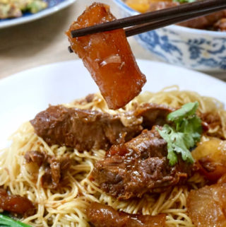 Plate of beef brisket noodles with a piece of beef tendon being held up.