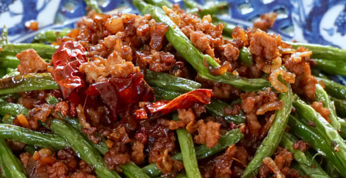 Sichuan Dry Fried Green Beans with Chai Por (Gan Bian Si Ji Dou)