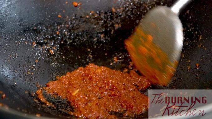 Frying the sambal chilli
