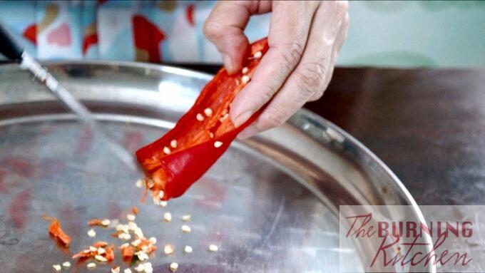 Deseeding the fresh chillis