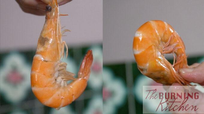 Comparison between prawn that is just done (left) and prawn that is over done (right)