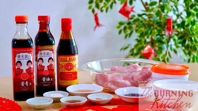 Bak kwa ingredients and Feng He Garden sauces