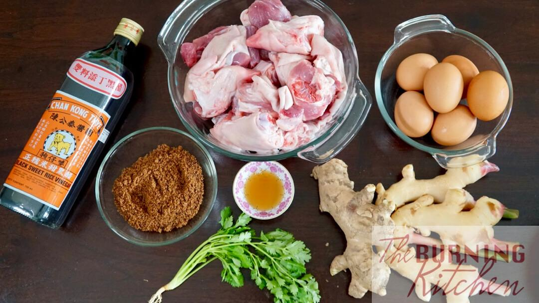 Ingredient flatlay for Pig's Trotters in Black Sweet Vinegar