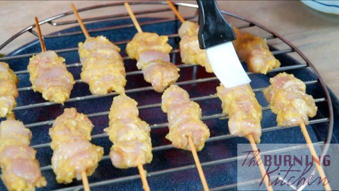 Brush the Satay with Oil