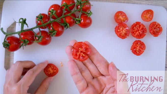 Cherry Tomatoes Cut Decoratively