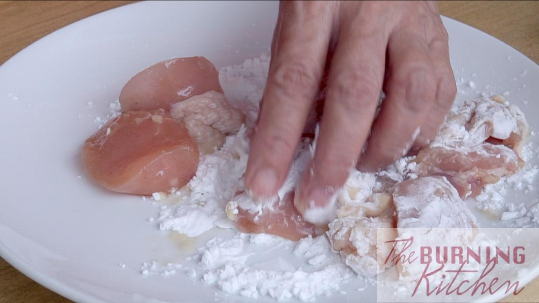 Coating the Chicken with Potato Starch